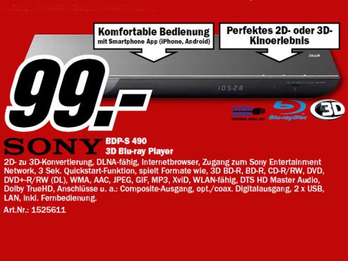 Sony BDP-S490 ©Media Markt