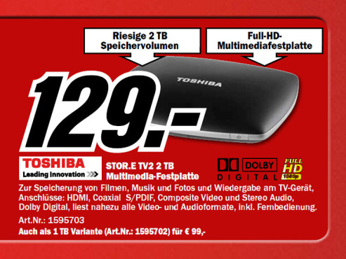 Toshiba Store.E TV2 2 TB © Media Markt