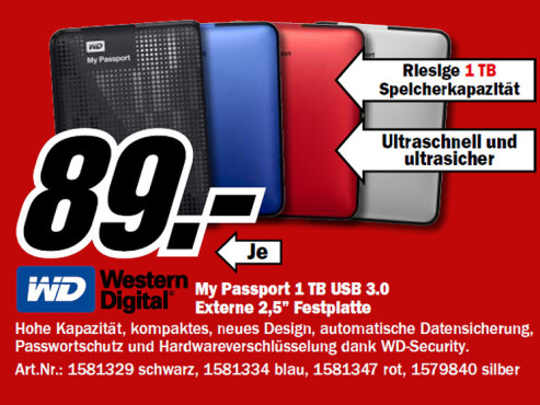 Western Digital My Passport 1 TB USB 3.0 © Media Markt