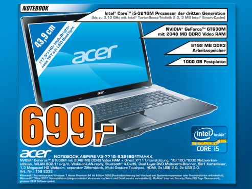 Acer Aspire V3-771G-53218G1TMAkk ©Saturn