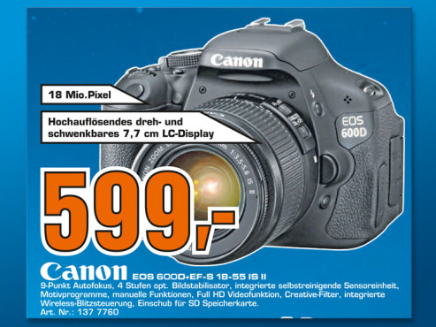 Canon EOS 600D Kit 18-55 mm ©Saturn
