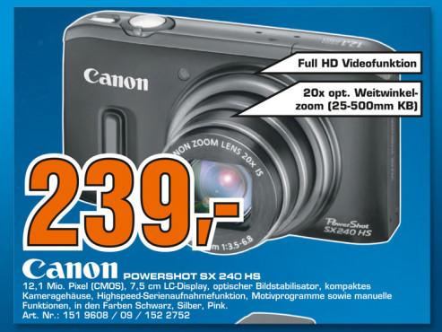 Canon PowerShot SX240 HS ©Saturn