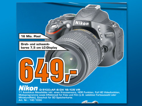 Nikon D5100 Kit 18-105 mm © Saturn