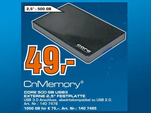 CnMemory 2.5 Core USB 3.0 500GB © Saturn