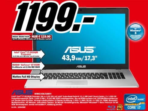 Asus N76VZ-V2G-T1007Asus N76VZ-V2G-T1007V ©Media Markt