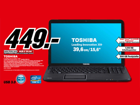 Toshiba Satellite C855-111 (PSKC8E-00F008) © Media Markt