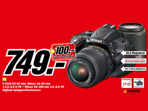 Nikon D5100 Kit 18-55 mm + 55-200 mm © Media Markt