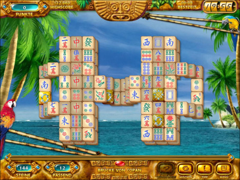 Meer Palme Papagei Mahjongg Ancient Mayas Screenshot © Intenium