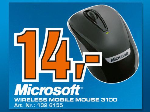 Microsoft Wireless Mobile Mouse 3100 © Saturn