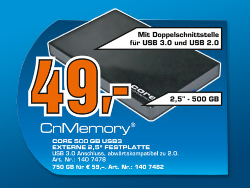 CnMemory Core 500 GB USB3 © Saturn