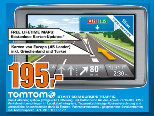 TomTom Start 60 M Europe Traffic © Saturn