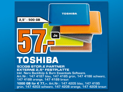Toshiba Stor.E Partner 500GB © Saturn