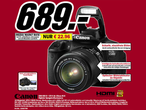 Canon EOS 650D Kit 18-55 mm © Media Markt