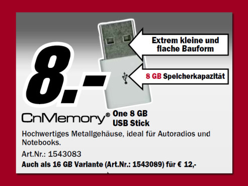 CnMemory One USB 2.0 Stick 8GB (Weiß) © Media Markt