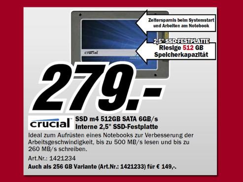 Crucial m4 512GB SSD 2.5 SATA III ©Media Markt