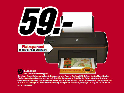 Hewlett-Packard HP DeskJet 2510 © Media Markt