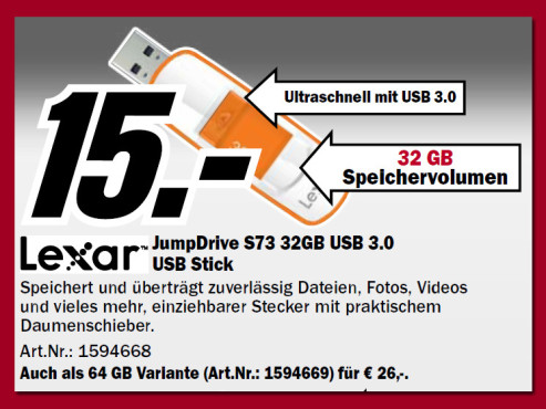 Lexar JumpDrive S73 32GB ©Media Markt