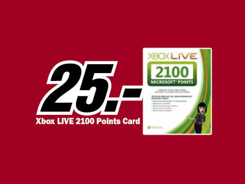 Microsoft Xbox 360 2100 Live Points Card © Media Markt