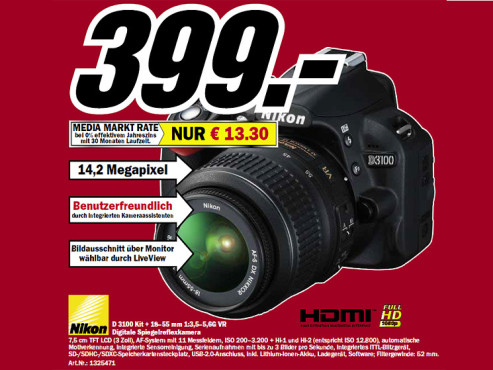 Nikon D3100 Kit 18-55 mm © Media Markt