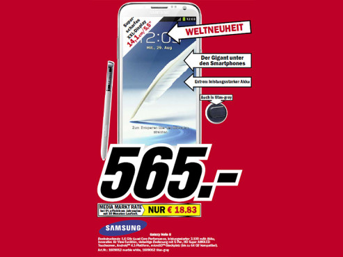 Samsung Galaxy Note 2 © Media Markt
