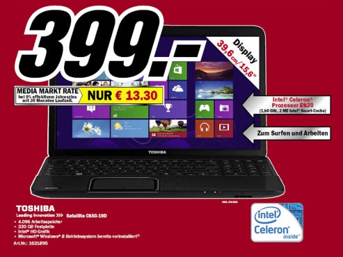 Toshiba Satellite C850-19D © Media Markt
