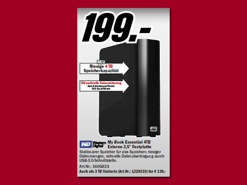 Western Digital My Book Essential USB 3.0 4TB © Media Markt