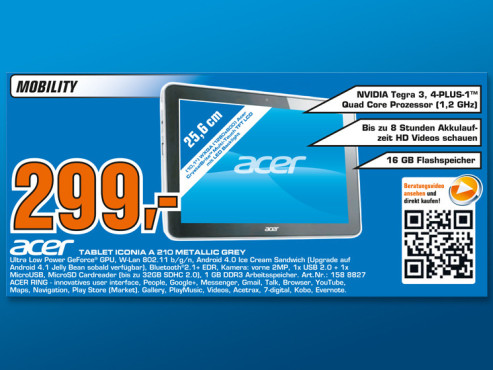 Acer Iconia A210 ©Saturn