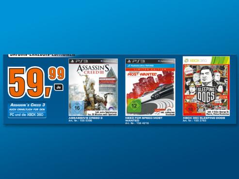 Aktuelle Spiele für Playstation 3 und Xbox 360 – Saturn-Sonder-Editionen ©Saturn