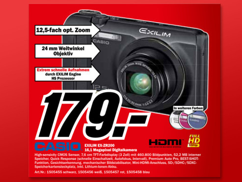 Casio Exilim EX-ZR200 © Media Markt