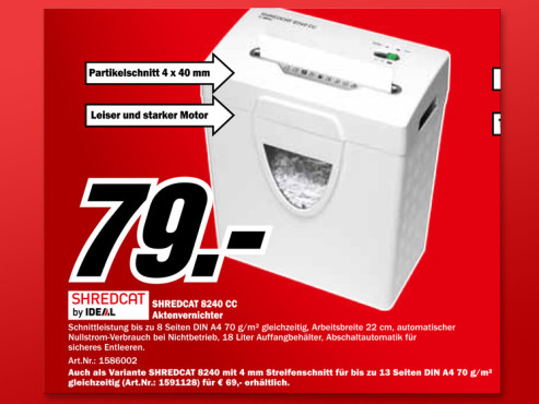 Ideal Shredcat 8240 CC © Media Markt