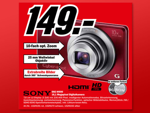 Sony Cyber-shot DSC-W690 © Media Markt