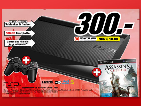 Sony Playstation 3 (PS3) Super slim 500GB + Assassin's Creed III © Media Markt