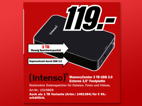 Intenso MemoryCenter 3 TB USB 3.0 © Media Markt