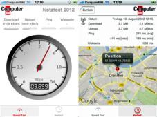 COMPUTER BILD-Netztest: Datenraten im Mobilfunknetzen deutlich zu niedrig Dank der App erfolgt die Messung der Handy-Netze genau dort, wo sie auch tatsächlich genutzt werden. ©iTunes