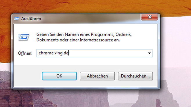 Chrome per Ausführen-Dialog laden ©COMPUTER BILD