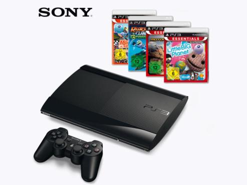 Sony Playstation 3 Super Slim mit Spielen ©Aldi Nord