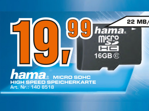 Hama microSDHC Card 16 GB ©Saturn