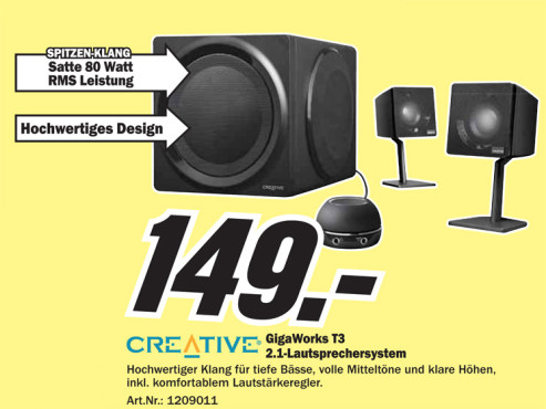 Creative GigaWorks T3 (51MF0365AA000 © Media Markt