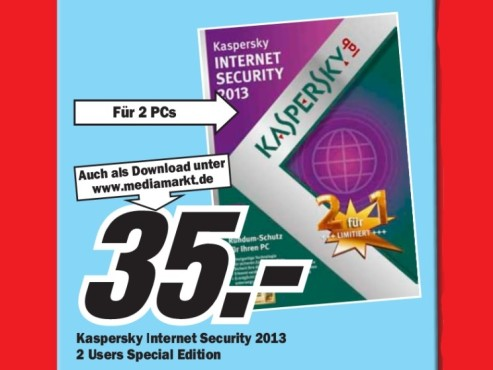 Kaspersky Internet Security 2013 Special Edition (2 User) (1 Jahr) (Win) (DE) © Media Markt