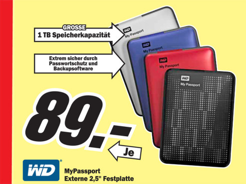 Western Digital My Passport Essential SE USB 3.0 1TB © Media Markt
