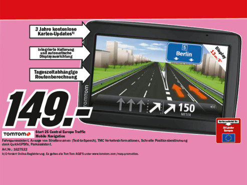 TomTom Start 25 Central Europe Traffic © Media Markt