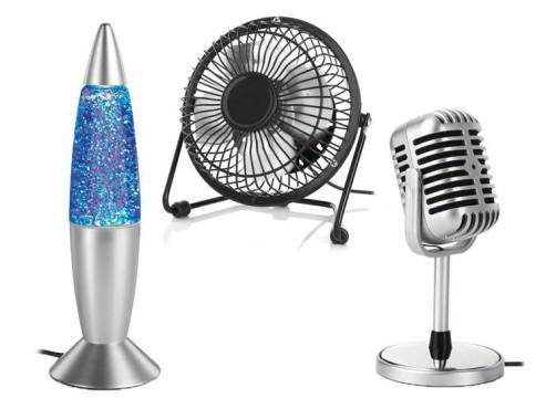 Retro-Mikrofon, Mini-Glitterlampe, Mini-Ventilator ©Lidl