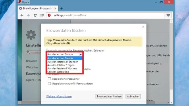 Browser-Verlauf löschen: Opera ©COMPUTER BILD