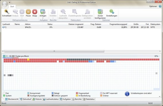 Screenshot: O&O Defrag Professional Edition © O&O Software