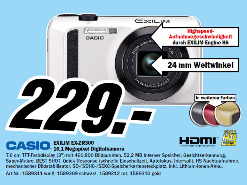 Casio Exilim EX-ZR300 © Media Markt