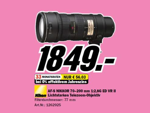 Nikon AF-S Nikkor 70-200mm f2.8 G ED VR II ©Media Markt