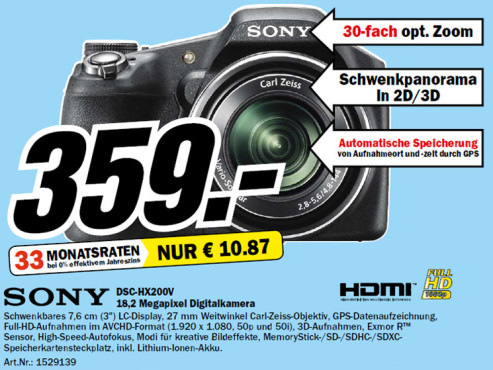 Sony Cyber-shot DSC-HX200V © Media Markt