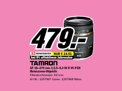 Tamron AF 18-270mm f3.5-6.3 Di II VC PZD ©Media Markt