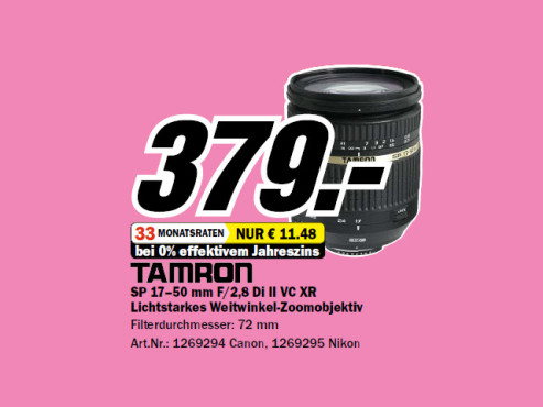 Tamron SP AF 17-50mm f2.8 XR Di II VC LD Aspherical IF [Canon] © Media Markt