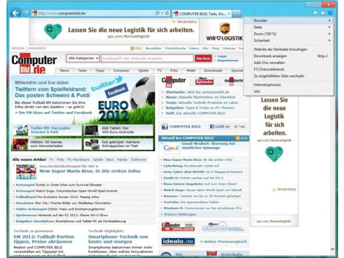 Internet Explorer 10 (Windows 8) © COMPUTER BILD